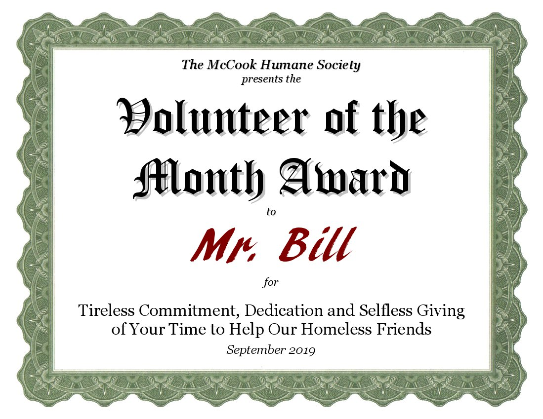 September 2019 Volunteer of the Month